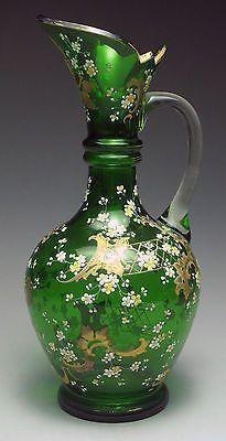 Antiguo 19th Century Moser Jarra De Cristal De Bohemia Checo Esmaltado Verde   Cerámica y vidrio, Vidrio, Vidrio artístico   eBay!