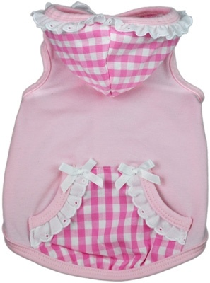 Always combining glamour and pure fashion with a sense of humor,                Ruff Ruff Couture® of Beverly Hills is for the ultra-chic doggie                who wants to stand out from the pack.Sweet Tooth Hoodie - White and Pink Gingham Hood and Pockets, White Ruffles and Bows