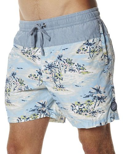 BILLABONG GOES WITH A SHORTER CUT WITH THESE LAGUNA ELASTIC BEACH SHORT - BLUE #MENSSWIMWEAR