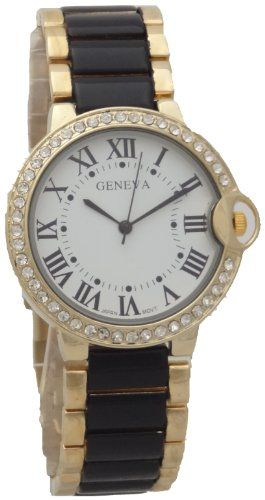 Geneva Quartz Watch Ballon Bleu Case White Dial With Romen Number Black N Gold Metal Band - List price: $70.00 Price: $19.99 Saving: $50.01 (71%)