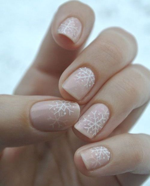 Really like this snowflake art. Would do these on almond or coffin shaped nails for the Christmas season.