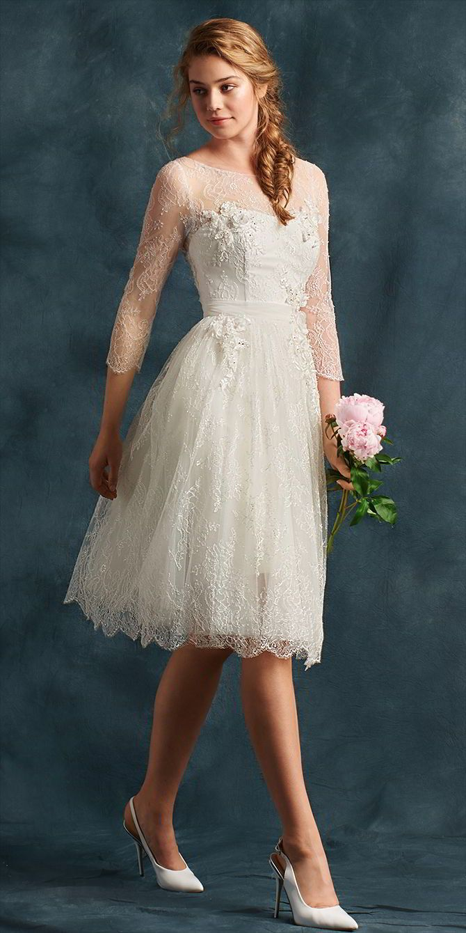 atelier eme 2017 wedding dresses tea length wedding dresssleeve