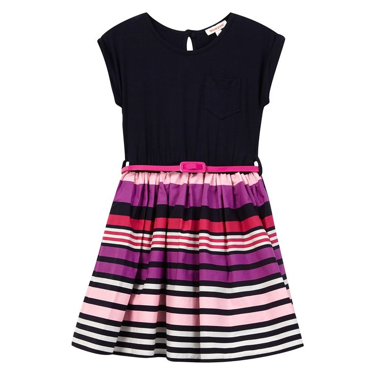 From bluezoo's fantastic range of children's clothing, this dress is the perfect choice for parties or a daytime wardrobe. Designed with a navy jersey top, it features a vibrant multi-coloured skirt with a striped print and a skinny patent belt in pink.