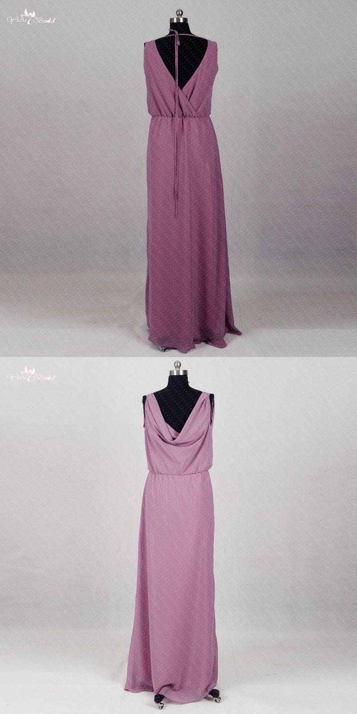 RSE290 Cheap-Wedding-Guest-Dress Long Chiffon Purple Bridesmaid Dresses Cheap Party Dress
