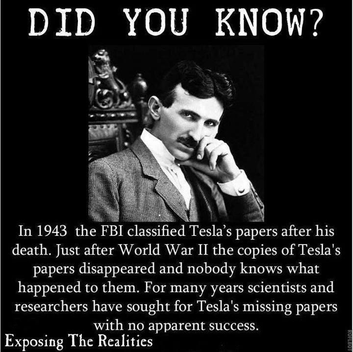 "tesla created wireless electricity w/a radio tower type device...they will never find his papers until his ideas are ""re-intellectualized?"" so to speak by some kid in the future there will be some magically appearing patent to bar anyone from utilizing the idea"