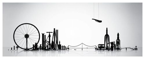 Cityscape made by bicycle parts by arttist Thomas Yang