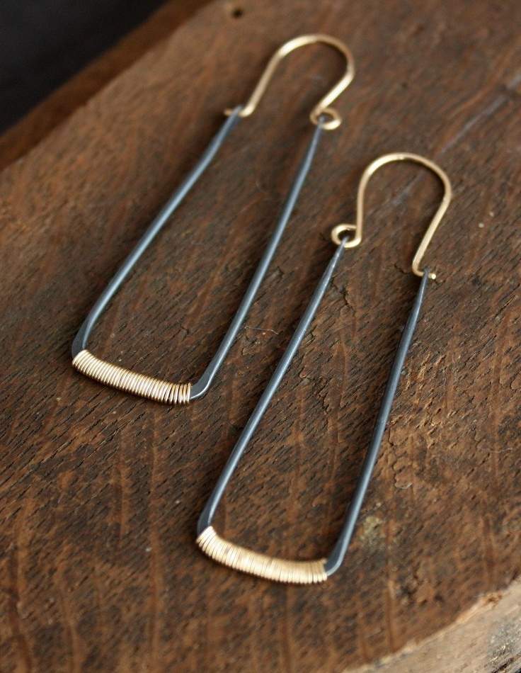 recycled sterling silver rectangle hoops by lemonadehandmade