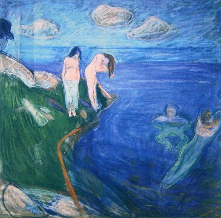 Edvard Munch (Norwegian 1863–1944) [Expressionism, Symbolism] Bathing Boys, 1894.