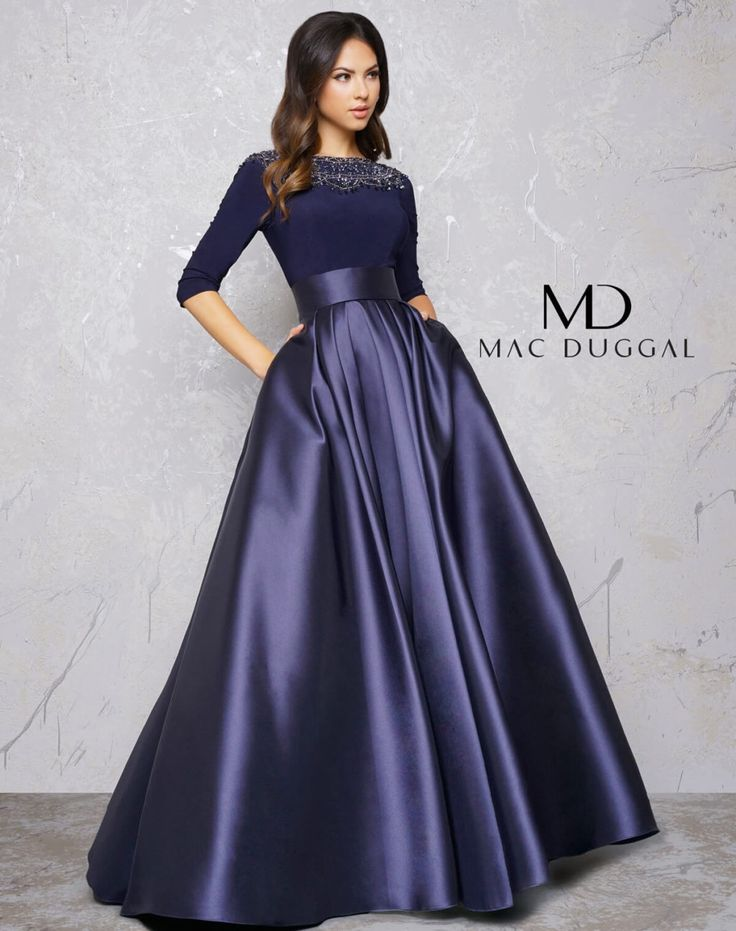 Midnight Blue Couture Dress with Sleeves - back