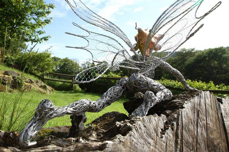 Incredible series of steel wire fairy sculptures