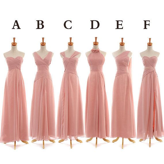 Long 6 different style bridesmaid dress,blush pink bridesmaid dress for your girls,cheap bridesmaid dress
