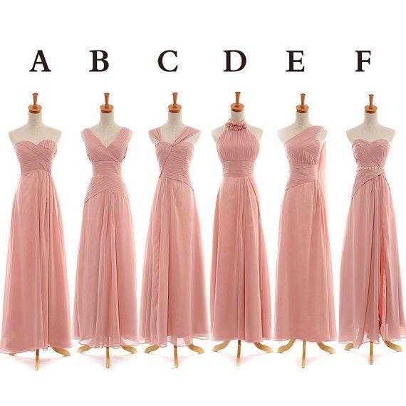 Long 6 different style bridesmaid dress,blush pink bridesmaid dress for your girls,cheap bridesmaid dress