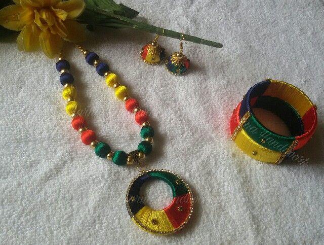 Multicolor Silk thread necklace
