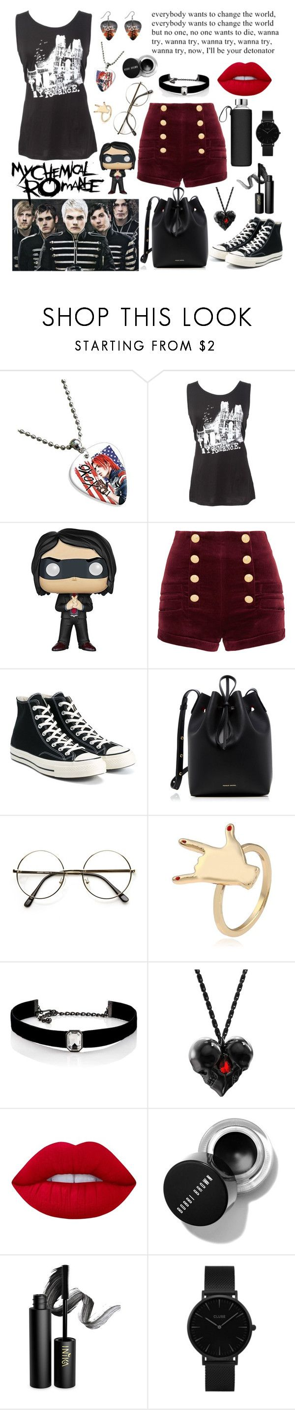 """My chemical romance"" by vitorialn ❤ liked on Polyvore featuring Nana', Funko, Pierre Balmain, Converse, Mansur Gavriel, Kenneth Jay Lane, Lime Crime, INIKA and CLUSE"