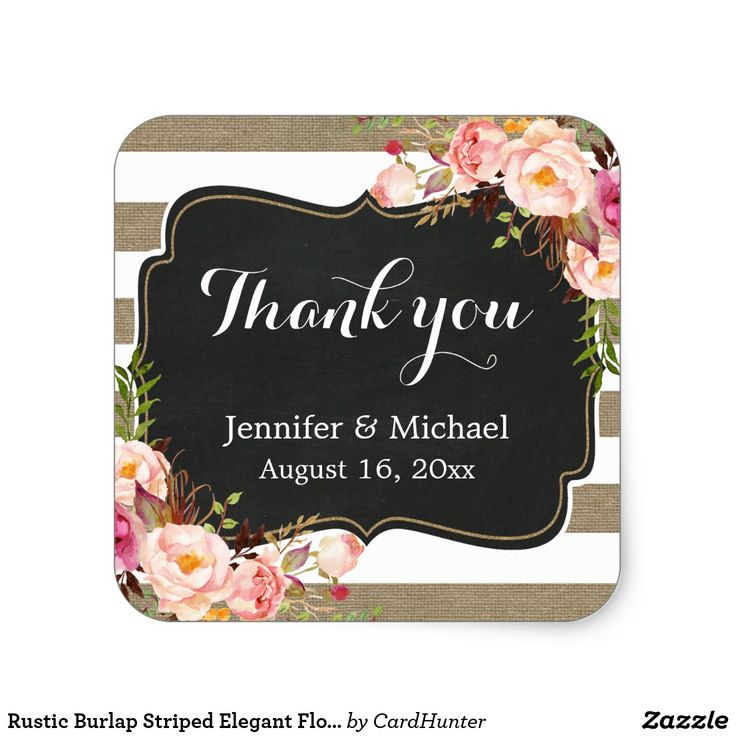 Rustic Burlap Striped Elegant Floral Thank You Square Sticker