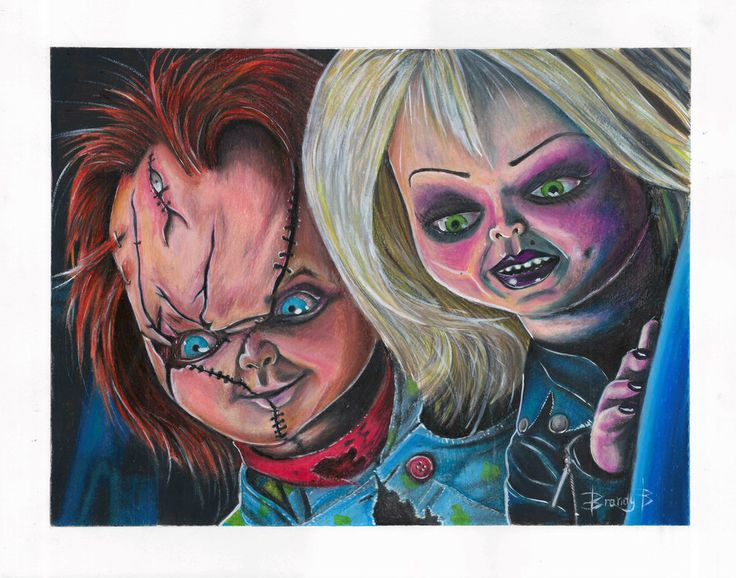 Mixed media drawing of Chucky and Tiffany from Bride of ...