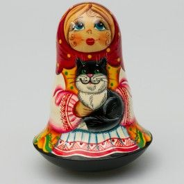 Ukrainian Girl with a Cat Nesting Never-Fall Doll