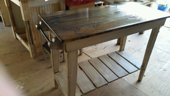Distressed Pine Kitchen Island-Farm Table Style Kitchen Island-Kitchen Work Table-NO SHIPPING AVAILABLE-Local Pick Up Only