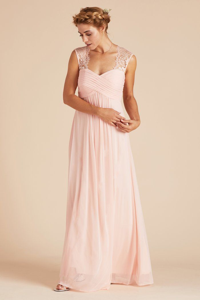 3839f4a9fd2 Birdy Grey Mary Vintage Lace Empire Waist Bridesmaid Dress in Blush Pink under   100
