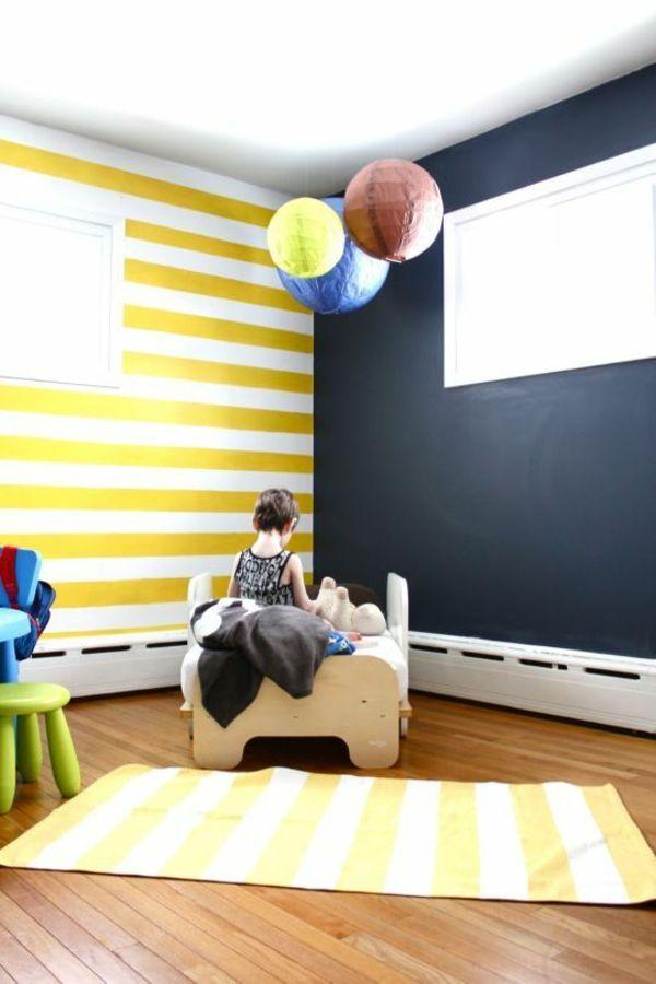 wandgestaltung wandbemalung kinderzimmer gelb weie streifen - Wandbemalung Modern
