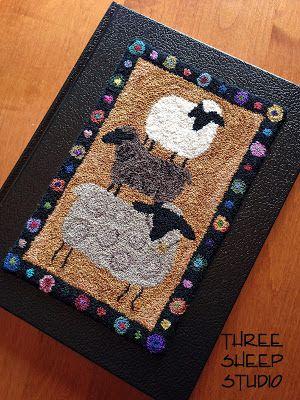 Punchneedle Design Mounted On Book - Three Sheep Studio