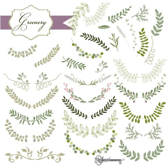32 Laurel and Greenery Vectors by Tangle's Treasures on Creative Market