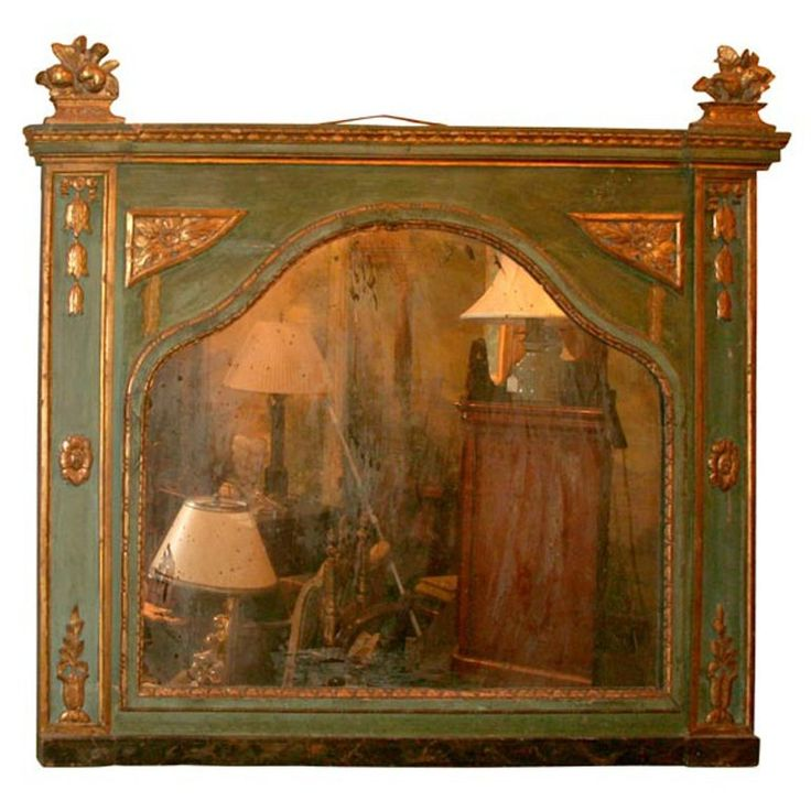 18th Century Carved Wood Italian Mirror | From a unique collection of antique and modern mantel mirrors and fireplace mirrors at https://www.1stdibs.com/furniture/mirrors/mantel-mirrors-fireplace-mirrors/
