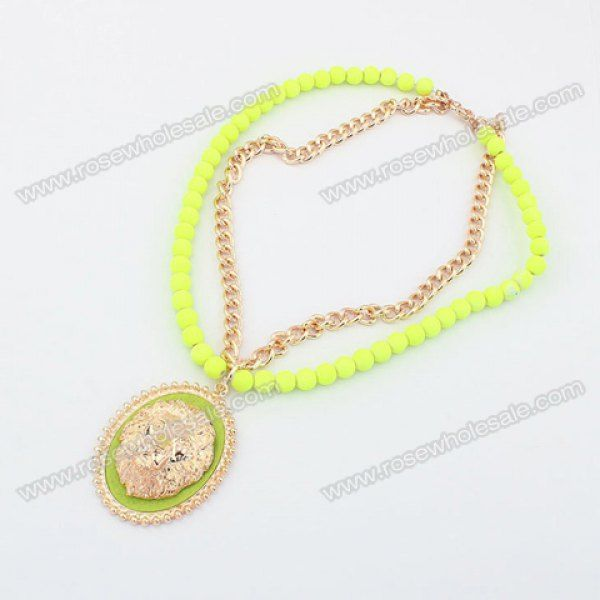 http://www.rosewholesale.com/cheapest/exquisite-women-s-iiridescent-lion-182733.html  Wholesale Fashion Fluorescence Color Lion Print Fringed Pendant Faux Pearl and Alloy Chain Necklace For Women (GREEN), Necklaces - Rosewholesale.com