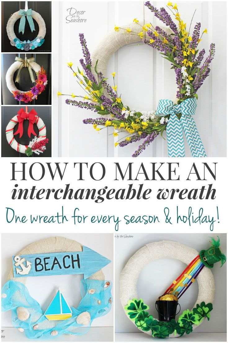 This is such a genius idea! Make an interchangeable wreath and just use the same wreath form all year long. Just change out the accessories! A totally brilliant way to hang a seasonal wreath on your door without buying and storing a bunch of wreath forms!