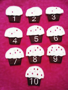 Pink cupcake number set has the numbers 1-10. Set is make on embroidery machine with eco-friendly felt. Cupcakes are made with 2 layers of felt and a layer of stablizer for body. Pieces have been sewn
