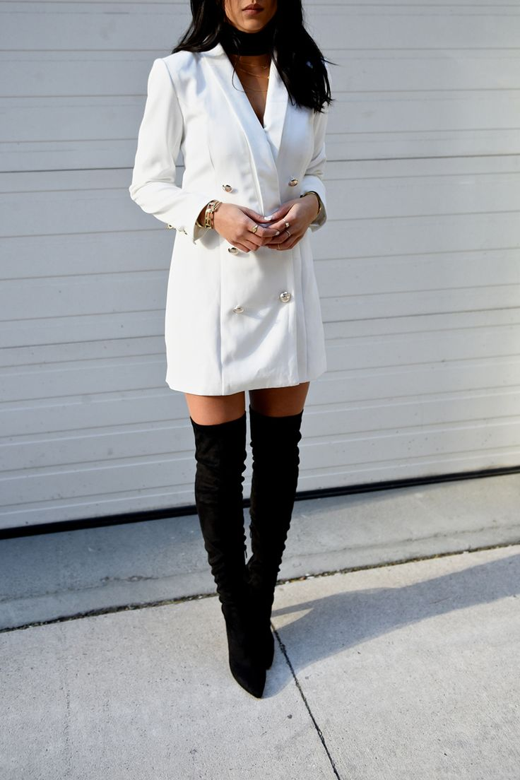 plain dress with blazer outfit jeans
