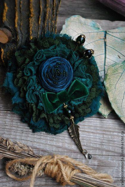 """Брошь """" Forest moss"""" - брошь,текстильная брошь,хлопковая брошь,брошь в стиле бохо"""