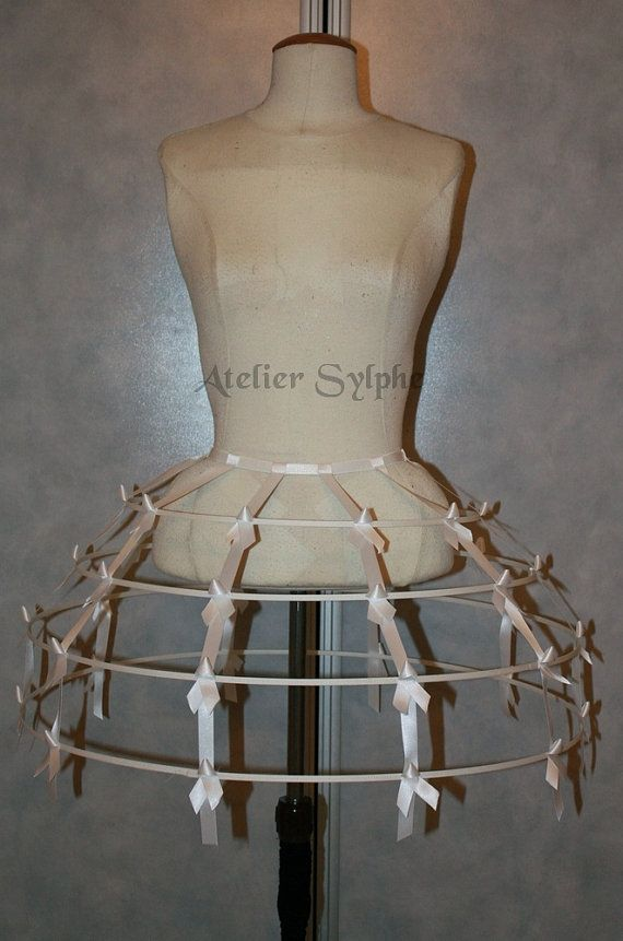 Pur white color Crinoline hoop skirt cage by AtelierSylphecorsets