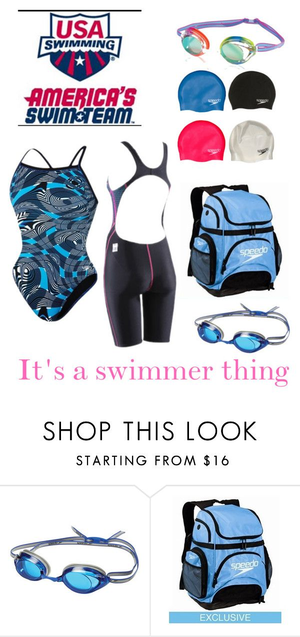"""Had a swim meet today"" by swim4eva ❤ liked on Polyvore featuring Speedo"