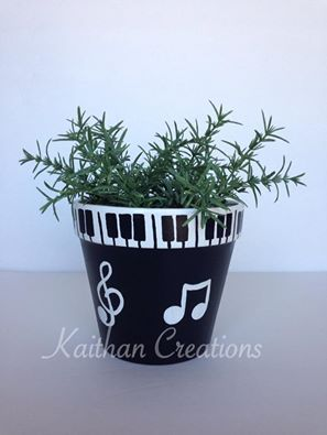 "Music Themed 5 1/2"" diameter Terra Cotta pot by Kaithan Creations. Can be customized. Visit my Facebook page to place your orders. https://www.facebook.com/kaithancreations/photos/a.218304591702629.1073741829.216663808533374/494479000751852/?type=3"