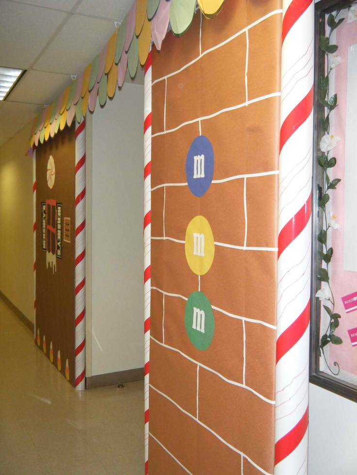During Christmas, I decorated the entrance to our cafeteria to make it look like the entrance to a gingerbread house.