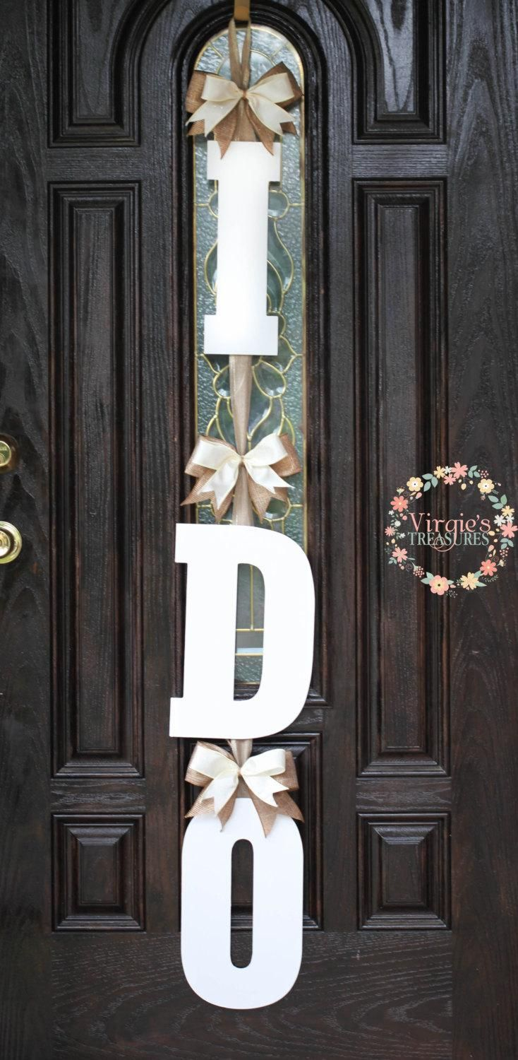 I DO Bridal Shower Door Decoration-I DO Wooden Door Hanger-Wedding Keepsake-Bride To Be Decor-Engagement party decor-Custom Bows