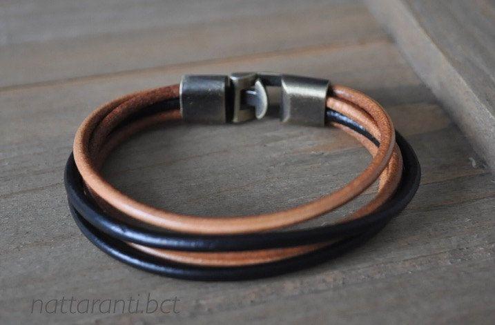mix tan and black bracelet leather genuine real modern and minimalist style men women bronze tone hook by nattaranti on Etsy