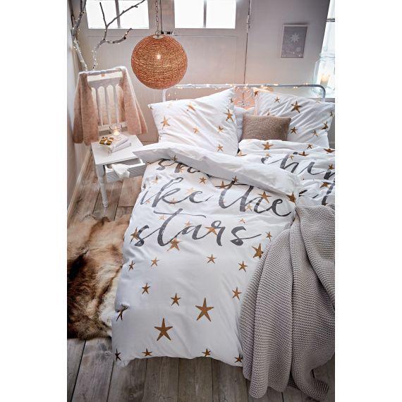 """Bettwäsche, Print """"Shine like the stars"""", Sterne, Romantik-Look, Baumwolle Vorderansicht"""