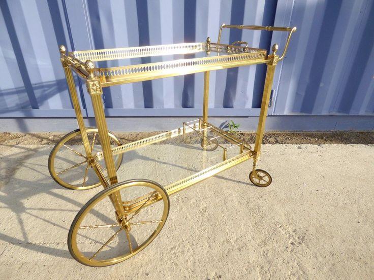 table desserte roulante dorée laiton maison jansen trolley cart bar vintage | eBay