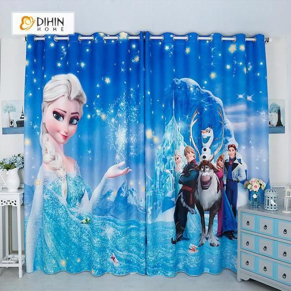 Dihin Home 3d Printed Frozen Blackout Curtains Window Curtains Grommet Curtain For Living Room 39x102 In Blackout Curtains Curtains Living Room Kids Curtains