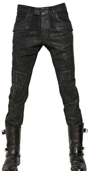 Balmain 18cm Waxed Moleskin Ankle Length Jeans in Black for Men - Lyst