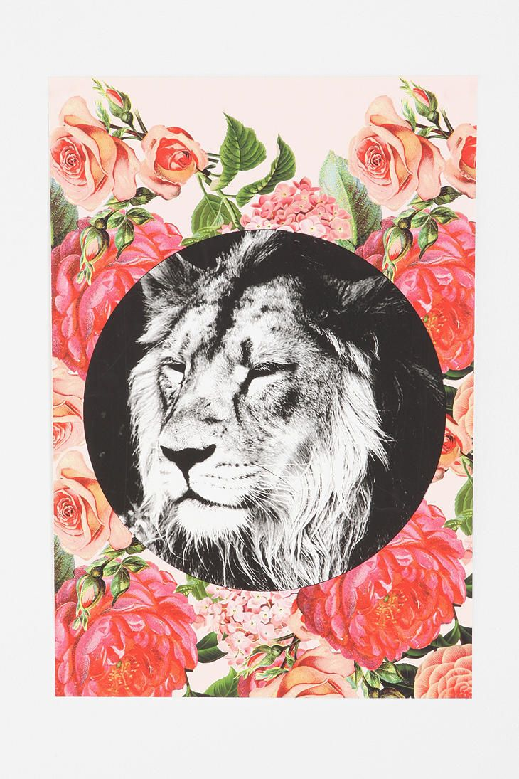 Floral Lion Poster #Urbanoutfitters #smallspace