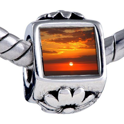 Pugster Sunset Ocean Beads - Oriana Bead & Bracelet Compatible Pugster. $12.49. Bracelet sold separately. It's the photo on the flower charm. Hole size is approximately 4.8 to 5mm. Unthreaded European story bracelet design. Fit Pandora, Biagi, and Chamilia Charm Bead Bracelets