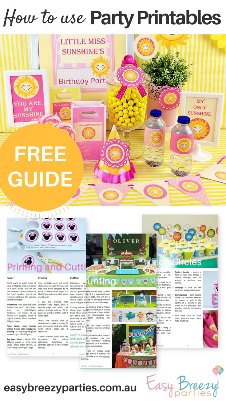Free guide - How use digital printable party decorations to create a gorgeous party look. Including where to find free and paid printables, how to print and cut, plus lots of ways to use bag tags, bunting, circles and more. Download it at http://www.easybreezyparties.com.au/party-inspiration-and-ideas/item/129-how-to-use-party-printables.html #easybreezyparties #partyprintables