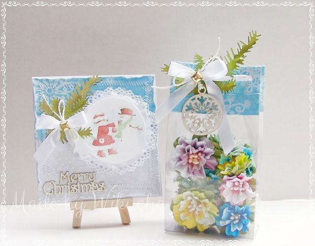 Christmas gift: card and flowers + course for transparent packaging