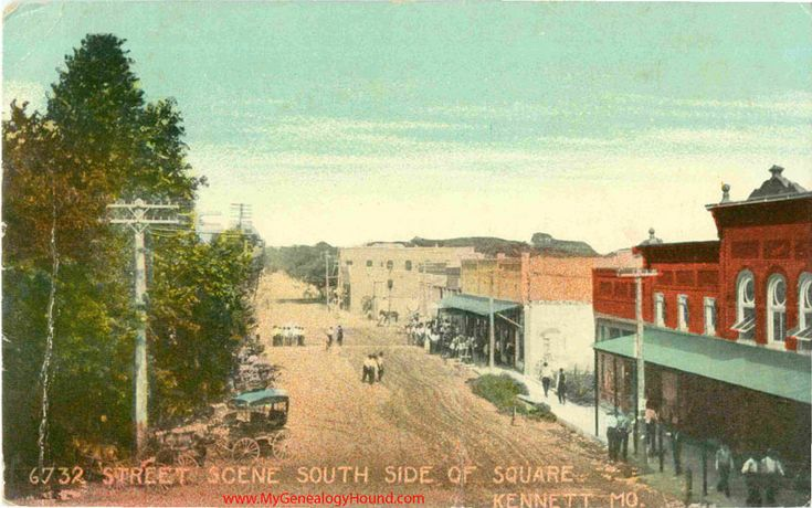 Kennett, Missouri, Street Scene South Side of Square, vintage postcard, Historic Photo