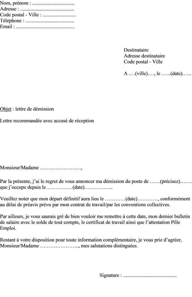 Modele Lettre De Demission Président Association Loi 1901 ...