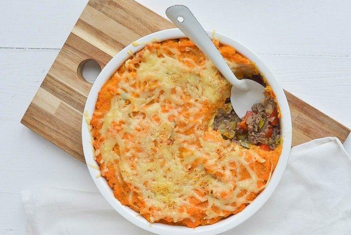 Ik maakte een heerlijke jachtschotel met gehakt en zoete aardappelen. Echt comfort food.
