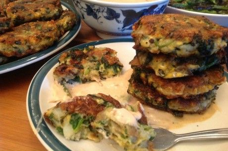 Potato and Spinach Cheddar Fritters With Horseradish Dipping Sauce. Vegan's eat a lot of carbs....got to do something about this....lo carbo vegan?......cmd